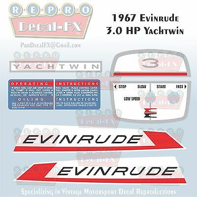 1965 Evinrude 40 HP Outboard Reproduction 3 Pc Marine Vinyl Decals 40502-03