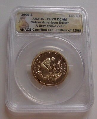 2009 - S Anacs Pr 70 Dcam Native American Dollar First Strike Limited Edition