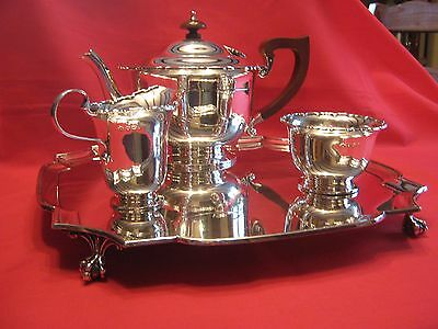 "1405 grams ART DECO HARRODS SILVER TRAY +""TEA FOR TWO"" SOLID SILVER 3pce TEA SET"