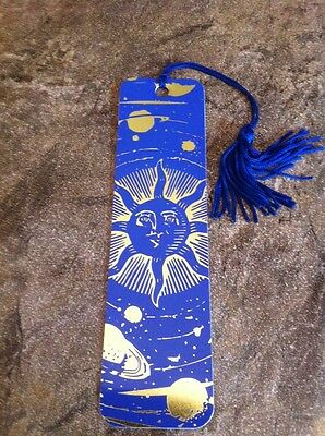 "Bookmark w/Tassel 5.75"" by 1.5""  Blue and Gold Sunburst Planets Space Sun"