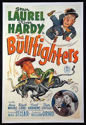 The Bullfighters Stan Laurel Oliver Hardy 1945 1-Sheet Linenbacked