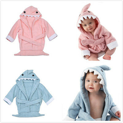 Baby Cartoon Soft Baby Dressing Towel Gown Bathrobe with Shark Shaped hat