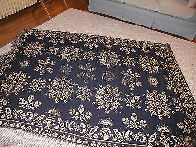 "1836 Blue and Beige Reversible Coverlet & signed  "" Hannah Demarest 1836"""