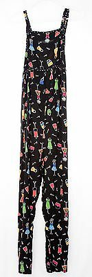 """DUO MATERNITY Rayon Colorful Print Empire Waist Black Ankle Jumpsuit Sz S x 25"""""""