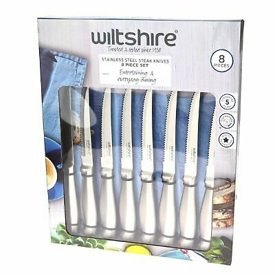 NEW WILTSHIRE 8 PIECE STAINLESS STEEL STEAK KNIFE SET Knives BBQ Pistol Grip