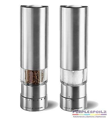 NEW COLE & MASON ELECTRONIC SALT AND PEPPER MILLS Electric Mill Grind GREENWICH