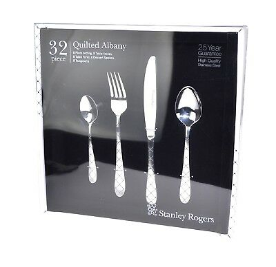 NEW STANLEY ROGERS 32 PIECE QUILTED ALBANY CUTLERY GIFT BOXED SET Fork Knife