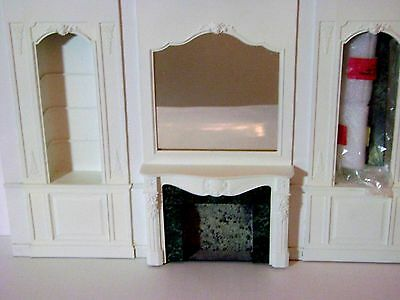 Lawbre Louis Xvi Dollhouse Wall With Mirrored Fireplace And Lighted Bookshelves