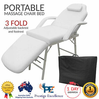 Portable Massage Cosmetic Beauty Treatment Facial Waxing Table Chair Bed - White