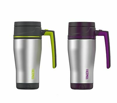 NEW THERMOS ELEMENT TRAVEL MUG 470ml Cup Flask Vacuum Insulated Lid PURPLE GREY