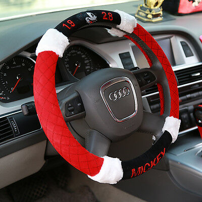 NEW DISNEY Mickey Mouse Plush Car Steering Wheel Cover Red