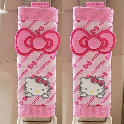 NEW Hello Kitty Bow Series Car Seat Belt Seatbelt Cover 2pcs