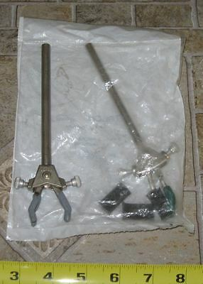 Fisher/Talon Small 3-Finger 3-Prong Laboratory Clamp lot x2 +connectors