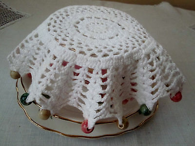 Vintage Hand Crochet and  Beaded Milk / Jug Cover with Multi Colour Wood Beads