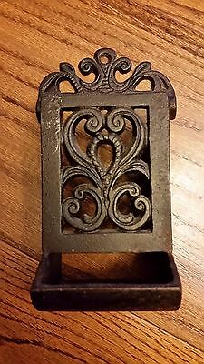 Vintage Cast Iron Wall Match  Safe / With Striker / Large / Black