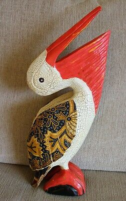 """15"""" Pelican On Piling Painted Hand Carved Wood Tropical Sculpture Bird Decor"""
