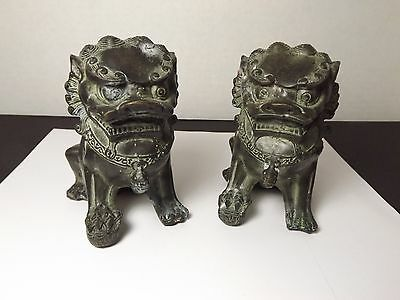 Pair Of Old Chinese Bronze Copper Pi Yao Pi Xiu Lion Foo Fu Dog Statue - Bx1