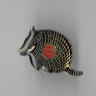 Vintage Armadillo Tatooed with a Lone Star Beer logo old enamel pin