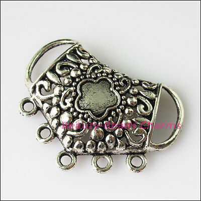 2 New Flower Star Connectors Tibetan Silver Tone Charms Pendants 29x38mm