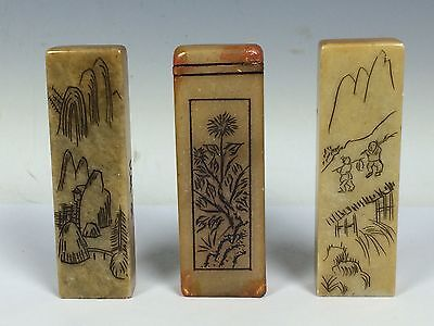 3 Pieces Chinese Soapstone Seal
