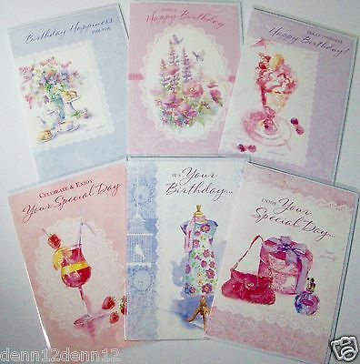 FEMALE OPEN BIRTHDAY CARDS, 6 DESIGNS x 6, JUST 26p, GLITTERED, WRAPPED (B395