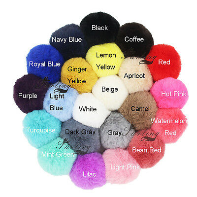 DIY Pretty Small PomPom Fur 6cm Faux Rex Fur Pom Poms for Hats Accessories
