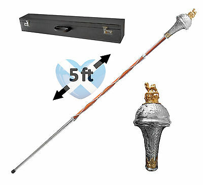 "Drum Major MACE 60"" 5 Foot Embossed Head with Lion & Crown - FREE Carry Case"