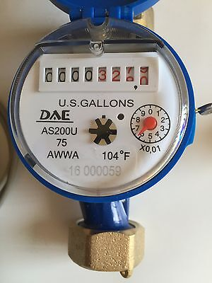 DAE AS200U-75P 3/4 in Water Meter, Pulse Output, Measuring in Gallon + Couplings