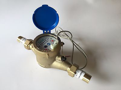 "DAE MJ-75 Lead Free Potable Water Meter, 3/4"" NPT Couplings, Pulse Output+Gallon"