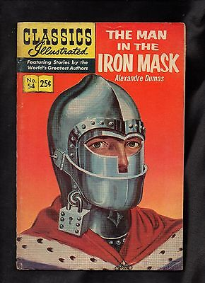 Classics Illustrated #54 Vg  Hrn166  (The Man In The Iron Mask) Alexandre Dumas