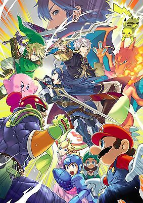 Super Smash Bros Mario Pokemon Zelda Wall Art Large Poster Print A0 A1 A2 A3 A4