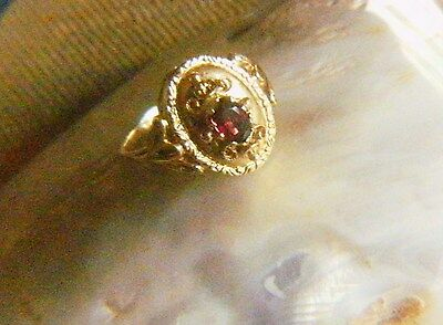 Antik Biedermeier um 1860 Granat 333er Gold Ring RG 58/17,5 Antique Garnet Ring