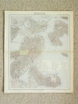 An authentic coloured folio plan of Boston by Letts.