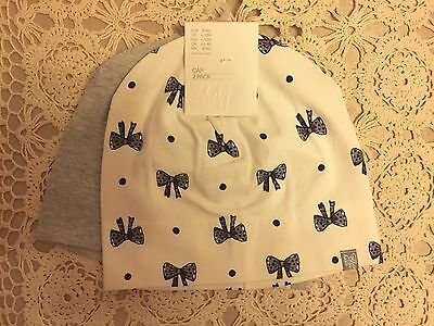 New Pack of 2 H&M Baby Girls Cotton Beanies Cap Hat Bow Ribbon Warm Twins 6-12m