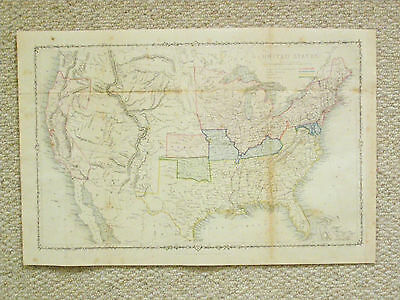An authentic coloured map of the United States, an end of Civil War map.