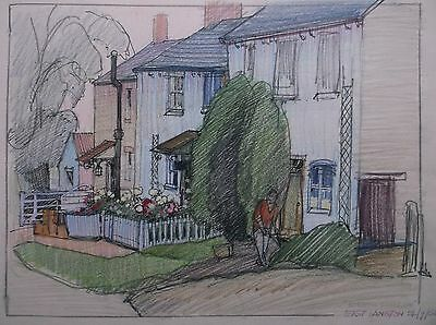COLOURED GRAPHITE DRAWING by FREDERICK GEORGE WILLS 1901-1993 R.I. EAST LANGTON
