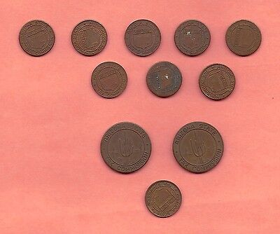 Lot of 11 ARIZONA SALES TAX TOKENS … 2 large & 9 small with 1 planchet error