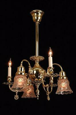 Antique Victorian Gas & Electric Circa 1890's Restored Brass Chandelier