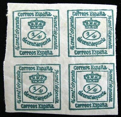 SPAIN – A BLOCK OF 4 Sc #190a – 1/4c – GREEN – 1900 – MINT - HINGED