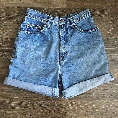 Vintage High Waisted Denim Shorts Light Wash Cut Offs Cuffed Size 27