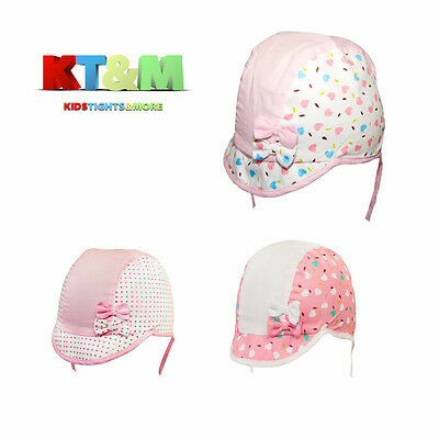 "Baby Girl Summer 100%Cotton Beach Hat Cap Bonnet Chin Straps ""BabyBear"" Size3-6m"
