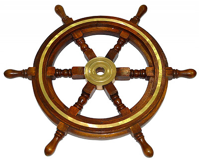 Ship wheel with Brass Accents - Made of Rosewood (Indian) /Sheesham - Boat's Whe