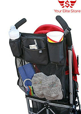 Universal Stroller Organizer Cup Holders Baby Bag Storage Three Zippered Pockets