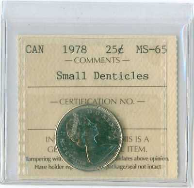 1978 Canada 25 cent small denticles ICCS MS 65