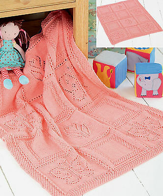 Knitting Pattern- Baby butterfly and flowers blanket in DK- measures 70x84 cm