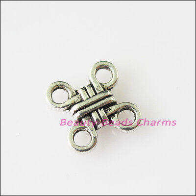 30 New Chinese Knot Connectors Tibetan Silver Tone Charms Pendants 10mm