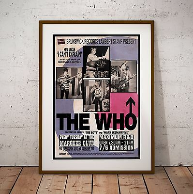The Who 1965 At The Marquee Club Concert Poster Print Three Sizes NEW Exclusive