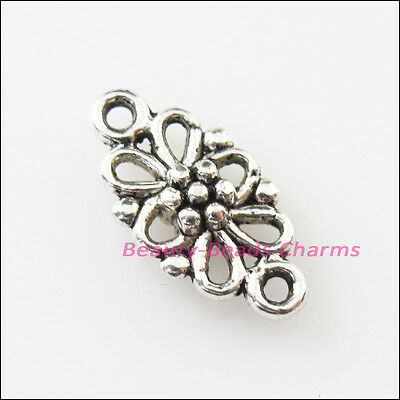 18 New Oval Flower Connectors Tibetan Silver Tone Charms Pendants 8x16mm