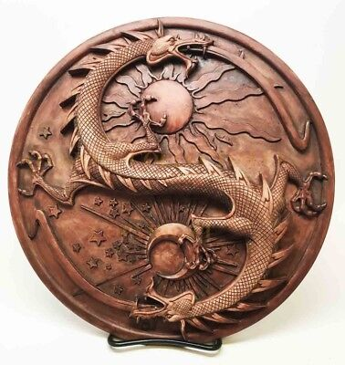 Maxine Miller Double Dragon Yin Yang Astrology Wall Plaque Figure Fantasy Myth
