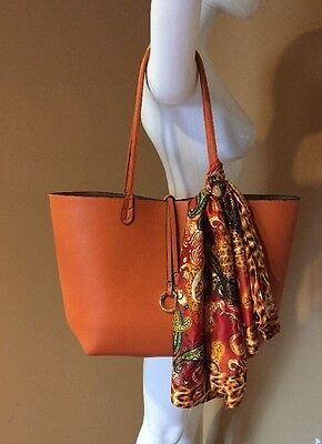 Beautiful Orange Leather Scarf Tote Bag with Shoulder Large Pouch Bag BRAND  NEW! 1702a284e0a36